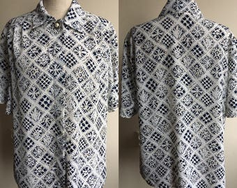 Vintage 80s Pinup Style  Blouse with Pearl Button
