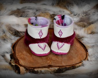 Sealskin and Leather Baby Mukluk Booties, Size 3-6 months, Custom Made