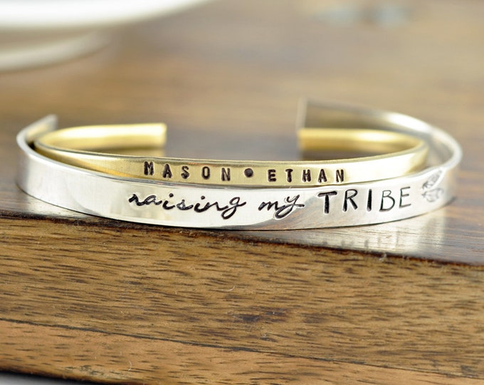 Personalized Mother Bracelet, Mommy Bracelet, Tribe Bracelet, Mothers Day Gift, Gift for Mom, Mother's Jewelry, Name Cuff Bracelet