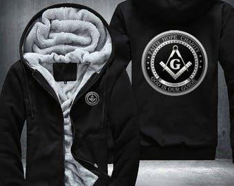 Freemason masonic Fleece Jacket Hoodie God is our Guide