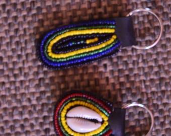 African Maasai Beaded KeyChain |  Yellow Beaded KeyHolder | Handbag Tassel Keychain | Leather Keychain| Sea Shell Keychain | A Set Of 2