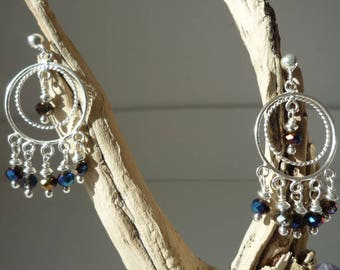 Bohemian earrings Silver 925 and iridescent blue