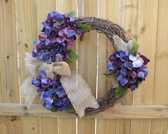 Grapevine Wreath with Purple/Blue Hydrangea ~ Burlap Bow ~ Wreath ~ Purple Hydrangea