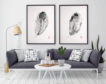 Feathers watercolor painting Art prints set of two posters Modern black and white wall art Cozy home interior Living room Kitchen decoration