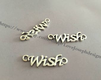 wholesale 50 Pieces /Lot Antique Silver Plated 8mmx28mm Wish Charm Link Connector (#056)