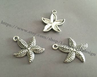 wholesale 100 Pieces /Lot Antique Silver Plated 23mmx18mm starfish charms (#0137)