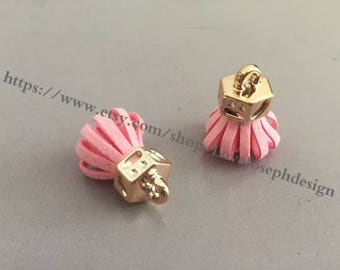 20pieces light pink suede leather KC gold caps ear tassel --for length 30mmx20mm(#0183)