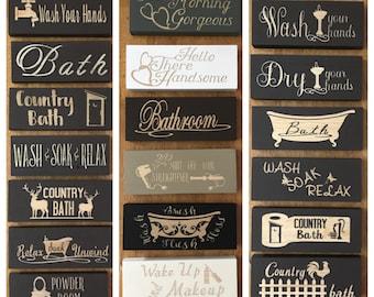 Bathroom Sign, Bathroom Decor, Bath Sign, Wood Block Sign, Bathroom Shelf Sign, Powder Room Sign, Mini Wood Sign, Rustic Farmhouse Decor