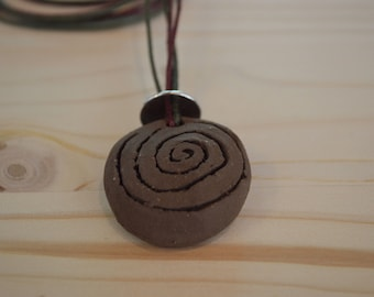 Black clay circle of life necklace