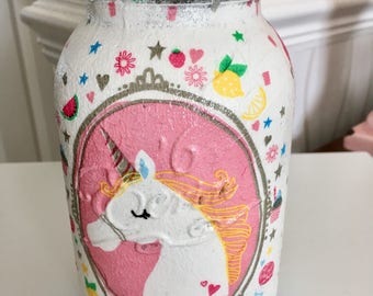 Hand decorated unicorn mason jar, unicorns, storage jar, childrens decor, teen decor,