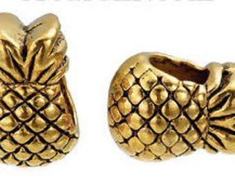 Perle à Gros Trou en Alliage de Zinc - Ananas Or Antique