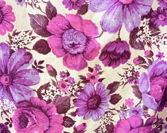 vintage floral barkcloth curtains / 1960s mid century barkcloth fabric / retro purple and pink curtain panels / vintage drapes upholstery