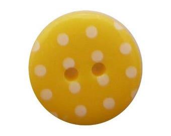 6 buttons round dot 1.8 cm yellow.