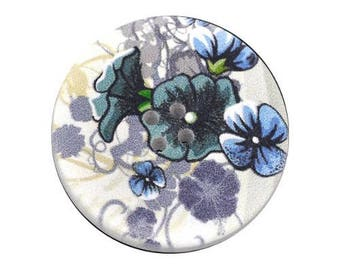 2 round buttons, sewing, scrapbooking blue flower 4 cm