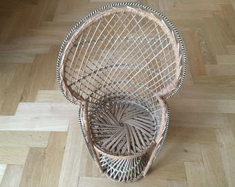 Vintage Bohemian 1970s Rattan Peacock Chair Plant Stand Large Good Condition