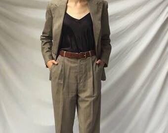 Vintage 90s Ralph Lauren Collection Wool Minimal Glenn Plaid Pant Suit | 2/4