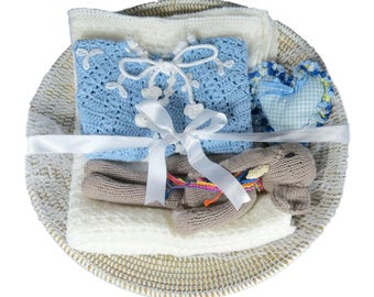 Precious Gift Set, Crochet sweater, baby gift, hand knit blanket, hand knit stuffed animal, hand crafted basked, baby shower gift