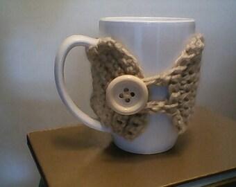 Beige Button Style Mug Cozy
