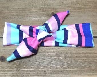 Striped Headband- Baby Headband; Tie Knot Headband; Baby Head Wrap; Girls Headbands; Jersey Headbands; Top Knot; Toddler Headband; Tie Knot