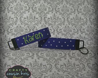 Key Fob Wristlet in Purple Polka Dot