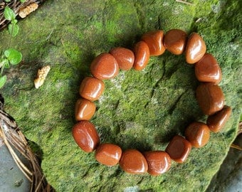 red jasper bracelet - stone of protection, grounding and root chakra healing