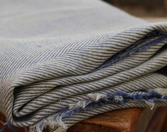 Vintage Herringbone Fabric / Vintage Cotton Woven Material Blue & Cream Beautifully Aged and in Excellent Condition. 1m x 1.55m