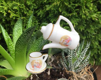 Fairy Garden Miniature Tea Pot and Tea Cup Bird Feeder - Garden Art