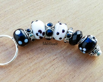 Black bead keychain, large bead keychain, keychains for women,beaded keychains,gifts for girlfriend, womens keychain, keychains, key chains