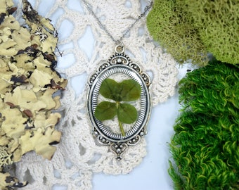 Genuine 4 Leaf Clover Cameo Necklace [LC 046]/ Stainless Steel / White Clover Pendant / Triforium Repens Clover Gift / Good Luck Charm