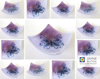 35 Glass butterfly bowls, symbol of transformation, uplifting gift, tea light candle holder, wedding favor,favour, party gift, purple bowl
