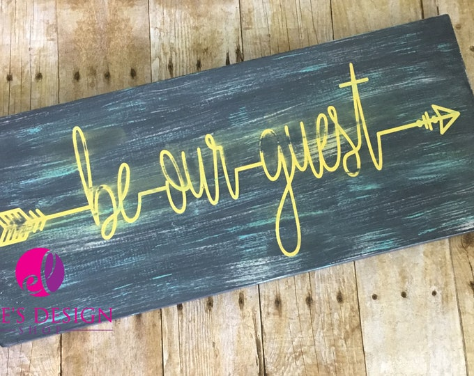 Featured listing image: Be Our Guest Hand-painted Wood Decor