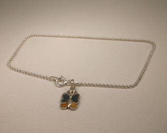 Gorgeous Vintage Sterling Silver Enameled Butterfly Chain Anklet or Bracelet 9 Inch Length