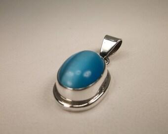 Stunning Vintage Southwestern Sterling Silver Blue Gemstone Pendant 925 Thick Heavy