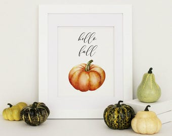 Hello Fall Sign, Fall Home Decor, Fall Printables, Farmhouse Fall Decor, Pumpkin Home Decor, Pumpkin Printable, Hello Fall Print, Autumn Art