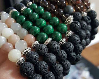 Intention bracelets - malachite - moonstone - shugite - smoky quartz - essential oils bracelet