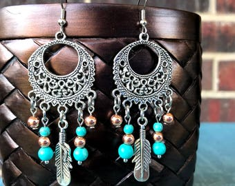 BOHO Earrings Copper and Turquoise colored beads with feather charm