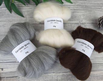 Corridale Sampler Pack - natural spinning fibres, mini-rovings for spinning, undyed corridale – 2,65oz