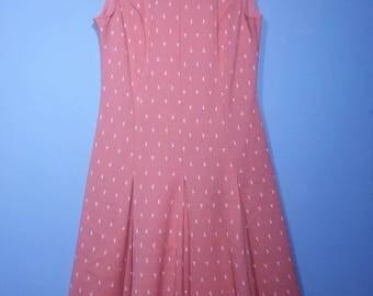 1960s Mod Pleated Drop Waist Salmon Triangles Poly Dress