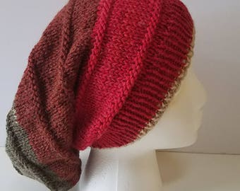 Red and Gray Simple Slouchy Hat