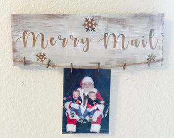 Merry Mail holiday card holder