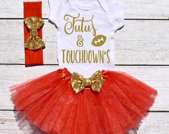 Tutu's and Touchdown's. Girls Football Tutu Outfit. Football Outfit. T19 FBL (RED)