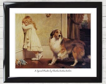Art Print Gift A Special Pleader by Charles Burton Barber Vintage Framed Picture Poster Dog and Girl High Resolution  Home Decor Gift 024