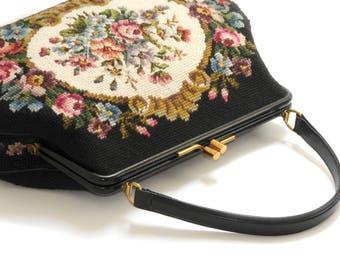 JOLLES ORIGINAL · Made in Austria · large bag handbag · Strap lock · unused · Tapestry, Petit point · floral decor