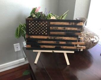 Hand carved whiskey barrel stave flag, reclaimed barrel American flag, desktop flag, handcarved stars