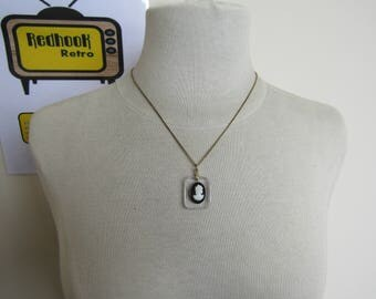 Lucite Cameo Pendant with Chain