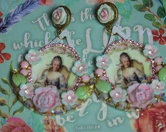 Marie Antoinette Victorian Massive Cameo  Studs Earrings