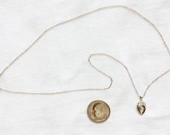 "Estate 14kt White Gold Necklace Genuine Diamond Pendant 16"" Long Marked 14K 14k kt Solid 1.2g Link 1 mm wide Chain Vintage Statement"