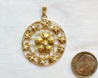 "Vintage 10k Yellow Gold Genuine Diamond Pearl Pendant 1-5/8"" long Estate 3D Large Big for Necklace 4.0g Marked 10 k kt 10kt Flower Statement"