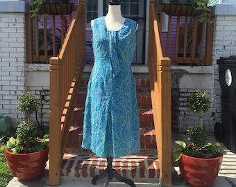 Vintage Joy's Boutique Blue Paisley Shift Dress