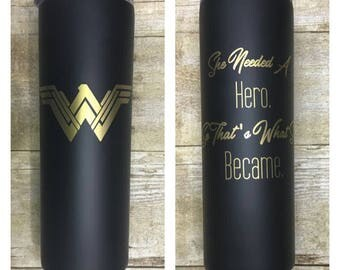 Wonder Woman 2017 She Needed A Hero Gold Black Travel Tumbler Mug Cup with Straw